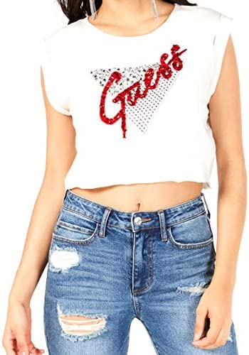 GUESS Women s Sleeveless Fishnet Bling T Shirt Shirt Cream White M product image