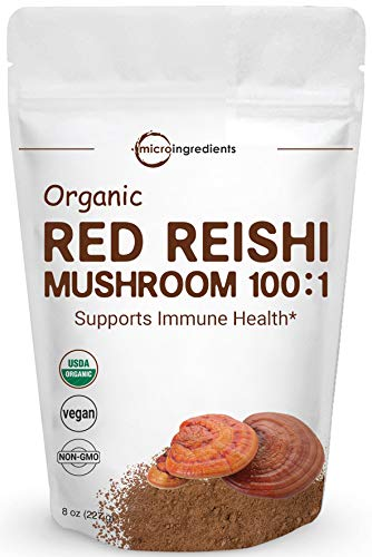 Sustainably US Grown, Organic Reishi Mushroom Powder, 8 Ounce, Pure Reishi Supplement 100:1 Extract, Active Content 30% Polysaccharides, Strongly Supports Immune System & Antioxidant, Vegan