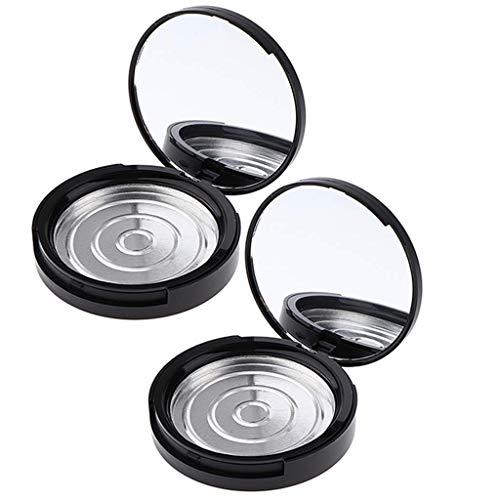 Inzopo Lot de 2 récipients à poudre comprimée vides rechargeables avec miroir de maquillage et poêle en aluminium (2 couches) – Portable, durable et pratique