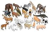Betzold 55892 - Tier-Set, 26 Teile - Tierfiguren Sortiment, Zootiere, Wildtiere, Dinosaurier, abwaschbar