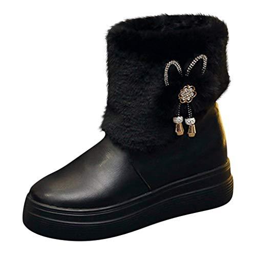 LILIHOT Mode Damen Winterstiefel Warme Schneestiefel Herbst Winter Baumwollschuhe Schlüpfen Kurze Stiefel Comfort Ankle Boots Beiläufige Kurze Stiefeletten Outdoor Wanderschuhe