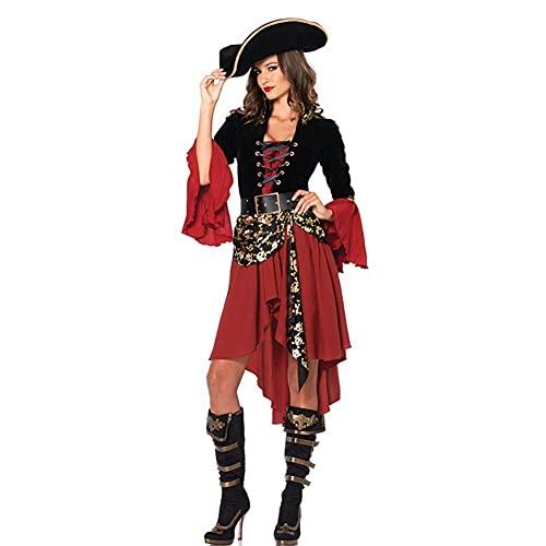 Piratas Capitn Disfraz rol de Halloween Jugar Cosplay Traje MEDOEVAL Fantasa Vestido de Mujer (Color : Black, Size : XL)
