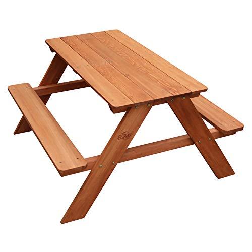 AXI Dave Kinder Sand & Wasser Picknicktisch aus Holz | Kindertisch in Braun für den Garten | 89 x 89 x 50 cm