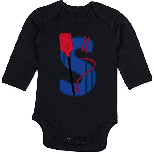 Anfangsbuchstaben Baby - S Schifffahrt - 6/12 Monate - Schwarz - Ruder - BZ30 - Baby Body Langarm