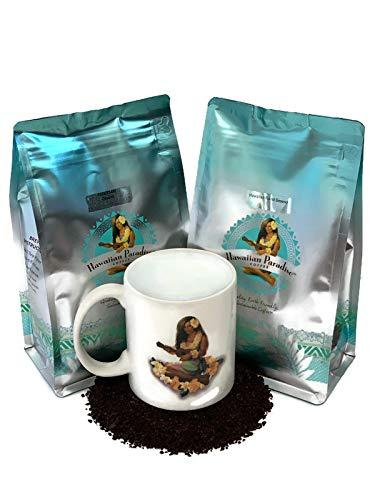 Hawaiian Paradise Coffee Hawaiian Roast Coffee Ground 12 oz & 10% Kona Ground 12oz Bundle With HPC Coffee Mug - Premium Rich Signature Brewed – 100% Arabica Gourmet