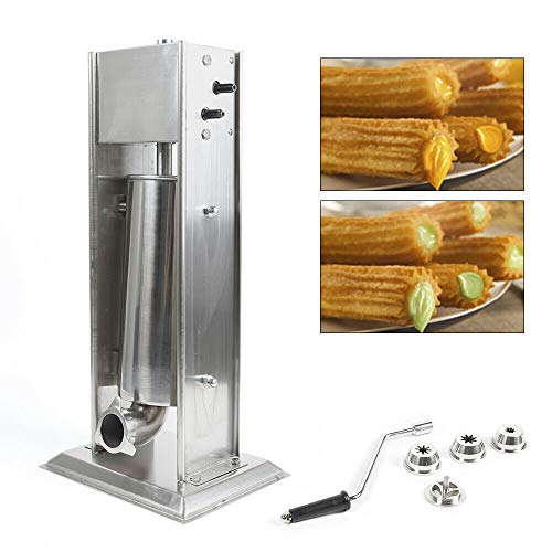 WUPYI Commercial 5L/11lbs Stainless Steel Churros Maker,Manual Spanish Churrera Churro Maker Machine with 4pcs Nozzles
