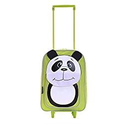 Karabar Wildlife Friends Kids Trolley Bag (Green Panda)