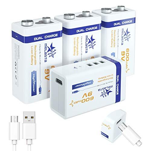 melasta 4Pack 9v 600mAh USB Rechargeable Batterie 6f22 Batterie Lithium ION/Li-ION avec Câble USB pour Clavier Microphone Tens Réveil Appareils Photo Numériques Télécommandes Universelles