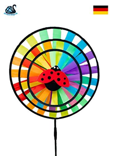 Eva Shop® Windspiele rießiges Windrad Windblume Windsack Windspiel Windturbine Windhose Windmühle wetterbeständig Verschiedene Modelle zur Auswahl (Three Wheel Ø 35 cm)