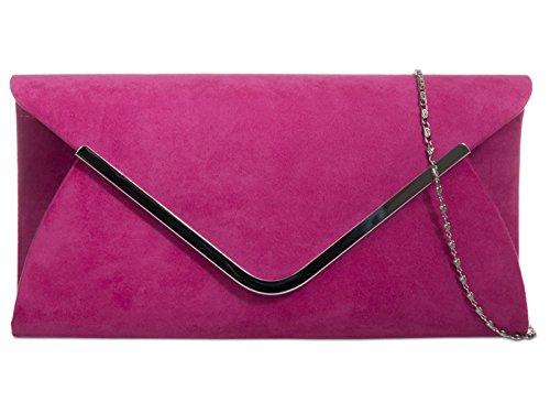 fi9® - Cartera de mano de Ante para mujer rosa Fuhsia Pink