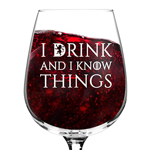 XJJ88 Copa de vino I Drink and I Know Things – 12 oz – D
