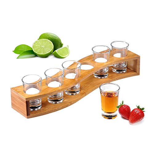 Jimbell Shot Glasses, Heavy Base Shot Glass Set with Tray - Professional Wooden Holder for Tequila - 6 Shot Glass Serving Set/Shot Glass Holder/Shot Glass Display/Tequila Shot Set