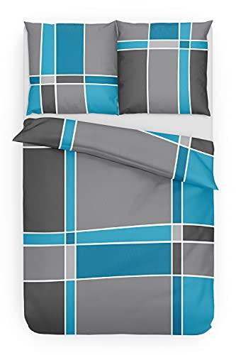 Träumschön Biber Bettwäsche 155x220 2tlg | Bettwäsche-Set im Karo Design | Biber Bettwäsche 155x200 cm & Kissen 80x80 | Kuschelige Bettwäsche 100% Baumwolle
