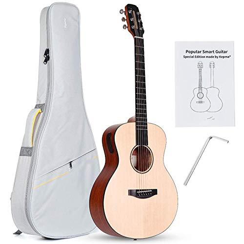 KEPOHK Guitarra inteligente LED de 36 pulgadas, App BT5.0 Instrumentos musicales de guitarra acústica de caoba de abeto con bolsa 36 pulgadas Amarillo claro
