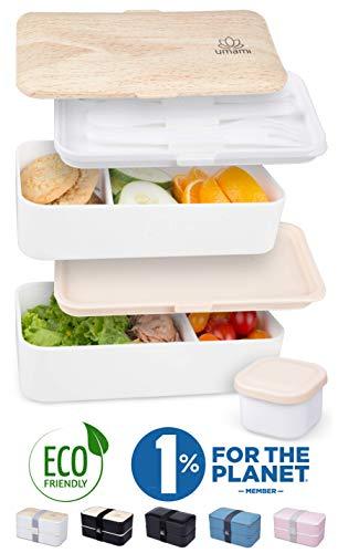 UMAMI® Hoogwaardige Lunchbox Inclusief Sauspotje & Bestek, Japanse Luchtdichte Bentobox, 2 Compartimenten, Zero Waste, Geschikt voor Magnetron & Vaatwasser, BPA-Vrij, 5 jaar garantie, Europees merk