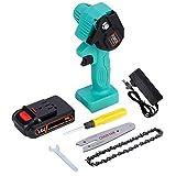 WOAINID Mini cadena eléctrica Sierra 24V para herramientas de jardín de carpintería con máquina de corte de madera de sierra de cadena (Color : Green set 1)