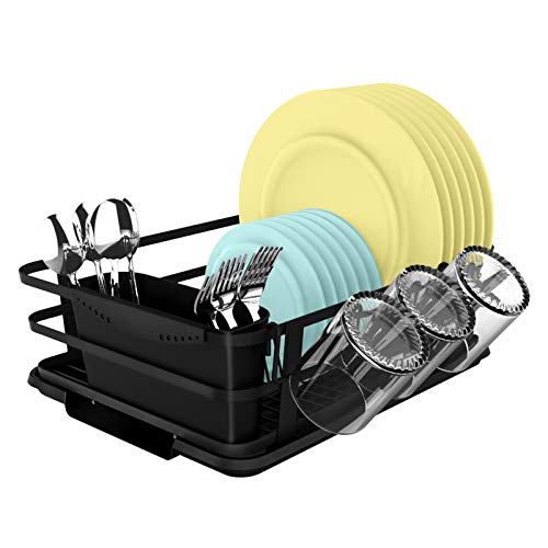 """Dish Drainers for Kitchen Counter with Drainboard Set Black Dishes Drying Rack Dish Sink Strainers with Removable Utensil Cup Holder-Black-14.6x11.8"""""""