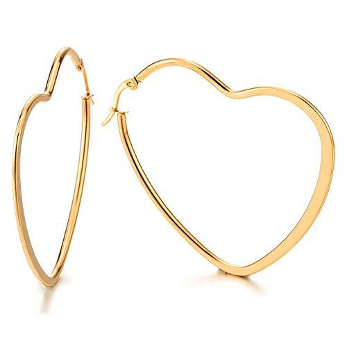 2 Color Oro Planas Corazón Pendientes del Aro, Pendientes para Mujer Niñas, Acero Inoxidable