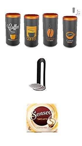 Senseo Cafe Latte 1 Packung + Kaffeepaddose Orange Kaffeedesign