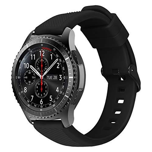 MroTech Gear S3 Armband Silikon 22mm Uhrenarmband Weich Silikonarmband kompatibel für Samsung Gear S3 Frontier/Classic/Galaxy Watch 46mm/Huawei Watch 2 Classic/GT/GT2 46MM Ersatzarmband-Sport Schwarz