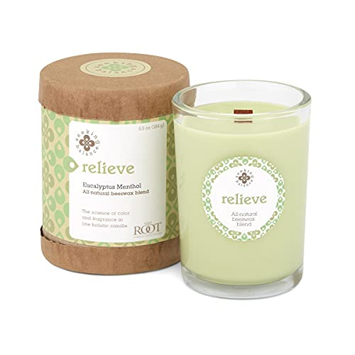 Root Candles 9941269 Seeking Balance Small Spa Candle, 6.5-Ounce, Relieve: Eucalyptus Menthol