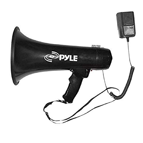 Pyle Megaphone Speaker PA Bullhorn - Built-in Siren 40 Watts Adjustable Vol Control & 1000 Yard Range - Football Soccer Baseball Hockey Basketball Cheerleading Fans Coaches & Safety Drills - PMP43IN, Black