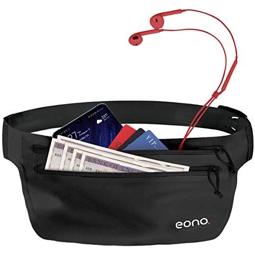 Eono Essentials - Cinturón portaobjetos Resistente al Agua con Banda elástica Ajustable para Hacer Ejercicio, Running, rutas en Bici y Actividades al Aire Libre (Negro)