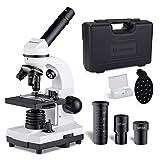 単眼生物顕微鏡80~1600倍の強力な光学実体顕微鏡標本と電話ホルダー付き子供 小学生 中学生 大人初心者の学習用