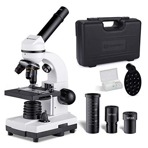 Bresser Microscope for Kids Students, 80X-1600X Professional Dual LED Illuminators Microscope Full Kit with Case Gift Package (BRS-B19s)