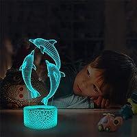 GMYXSW Franxx 002アニメのキャラクターテーブルランプUSB電源を入れた16色LEDライトが付いている子供のギフトの寝室装飾-イルカ