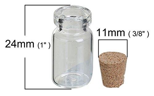Sadingo 1 kleine glazen fles transparant met kurk - 28 x 14 mm - inhoud 1,5 ml - knutselen, bewaren, decoratie