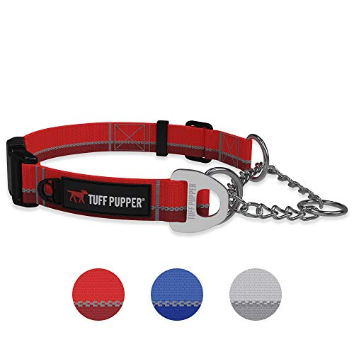 Reaction Martingale Collar For Dogs | Gentle Nylon & Steel Chain Limited Cinch Design Is Perfect For Training | Dual Leash Attachment Points | Durable Quick Release Buckle | Sizing For All Breeds