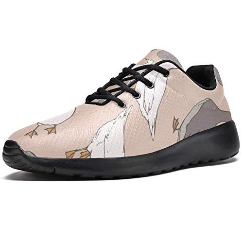 TIZORAX Zapatillas de correr para mujer Gris y Blanco Gansos Moda Zapatillas de deporte Malla Transpirable Caminar Senderismo Tenis Zapatos, color Multicolor, talla 39 EU