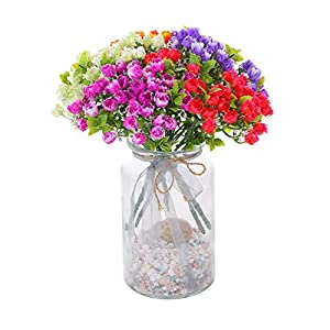 yuanxue 12pcs Summer Artificial Flowers Fake Small Bud Roses Lifelike Flowers Greenery Shrubs for Farmhouse Indoor Outdoors Balcony Patio Home Office Wedding Party Decoration