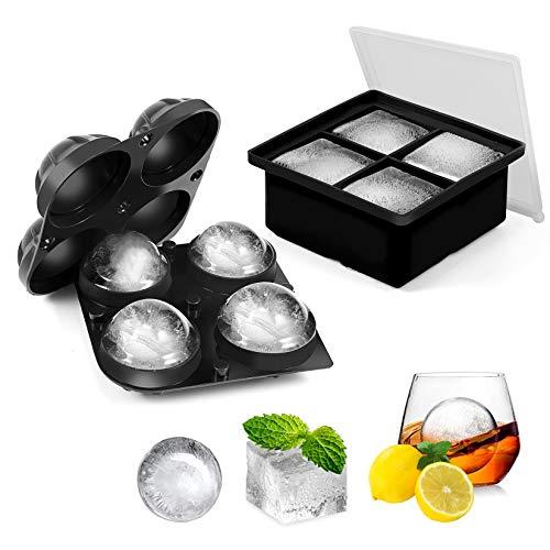 Cubetti Ghiaccio Stampo Silicone con Coperchio - 2 Pezzi Grande Cubi & Sfera Stampi Ghiaccio per Whisky Cocktail e Scotch Nero Vaschetta per Ghiaccio