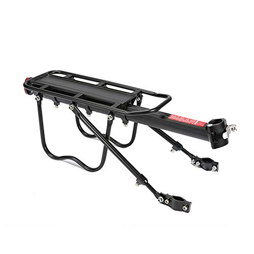 Universal Bike Rear Rack with with Rear Reflector and Fitting Screws Aluminium Alloy Bicycle Cargo Rack Cycling Carrier Racks Easy to Install - About 25Kg Load