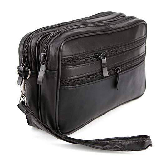 Charmoni–Borsa Sacchetto Vuoto tasca tasca in pelle e la sua grande tracolla pelle vacchetta nove Emrys nero taglia unica