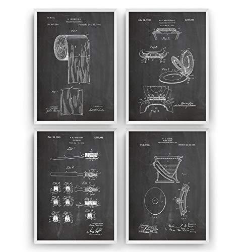 Satz von 4 Badezimmer Patent Poster - Bathroom Drunken Print Vintage Jahrgang Bad Badezimmer Poster Toilette WC Art Zeichnungen Geschenke Vater - Rahmen nicht enthalten