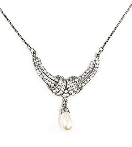 925er Silber Jugendstil-Collier mit Swarovski-Steinen und Perle geschwungene Form