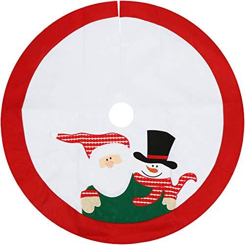 com-four® Christbaumdecke Ø 100 cm - Weihnachtsbaum Unterlage mit weihnachtlichem Motiv - Weihnachtsbaum Teppich rund - Weihnachtsbaum Rock (Ø 100cm - Schneemann/Weihnachtsmann)