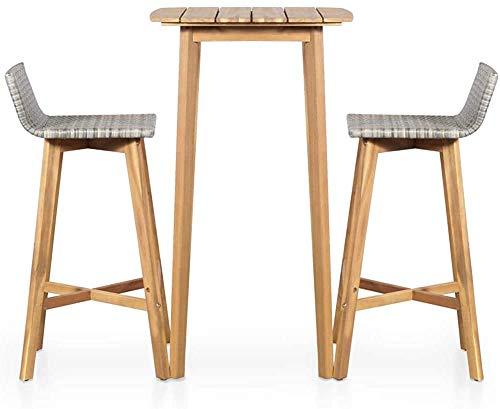 Madera maciza poli ratán mesa de comedor al aire libre sillas de la barra Set 3,Brown