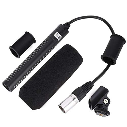 Micrófono de cámara Micrófono de grabación de video unidireccional Metal Negro Micrófono...