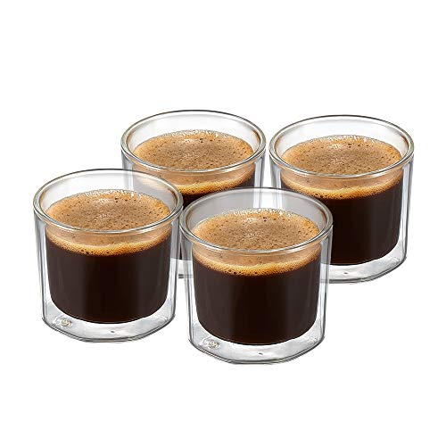 ZENS Double Walled Espresso Shot Glasses, 4 Ounce Unique Octagonal Insulated Borosilicate Glass Espresso Cups Set of 4 for Lungo Coffee or Dessert