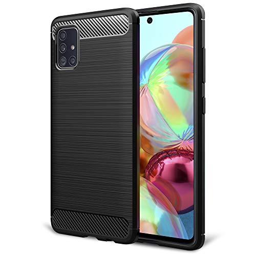 NALIA Design Case kompatibel mit Samsung Galaxy A51 Hülle, Carbon Look Stylische Handyhülle Stoßfeste Silikon Schutzhülle, Dünne Handy-Tasche Phone Cover Bumper Soft Skin TPU Etui Kratzfest - Schwarz