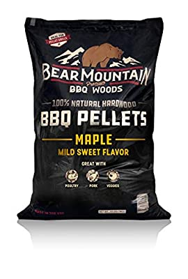 Bear Mountain BBQ 100% All-Natural Hardwood Pellets - Maple Wood (20 lb. Bag) Perfect for Pellet Smokers, or Any Outdoor Grill | Rich, Smoky Wood-Fired Flavor
