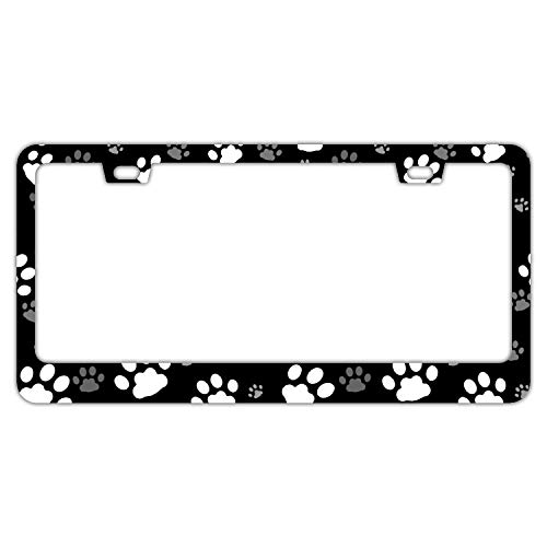 DZGlobal Paw Print Dog Cat Pattern License Plate Frame License Plate Covers Humor Car Tag Frame 2 Holes and Screws Black Personalized Car Accessories for Pet Lovers