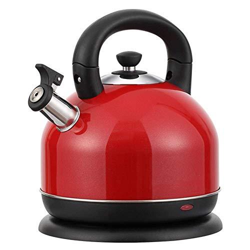 KTDT 3L 2000W Edelstahl Wasserkocher Schnurlose Warmwasserboiler Heizung automatische Abschaltung und Trockenkochschutz, rot