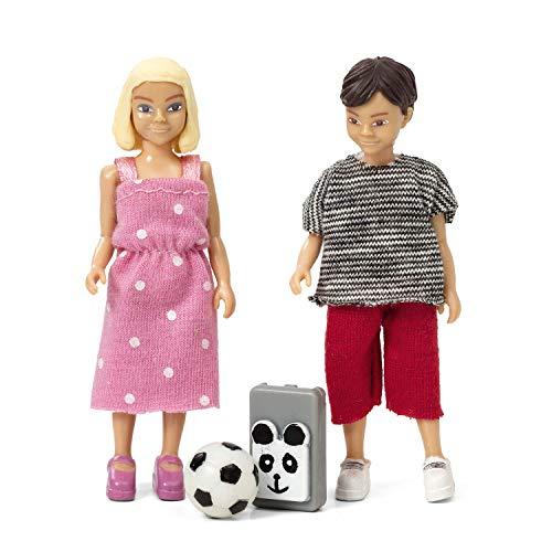 Lundby 60-807100 - Biegepuppen für Puppenhaus - Schulkinder - 4-teilig - Puppenhauszubehör - Kunststoff-Puppen mit ausziehbarer Kleidung - Mädchen, Junge, Fussball, Tasche - ab 3 - Minipuppen 1:18