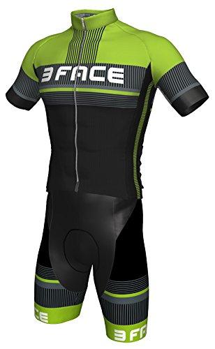 Threeface Completo Estivo Ciclismo Deal Maglia + Salopette Bici MTB (XL, Verde)