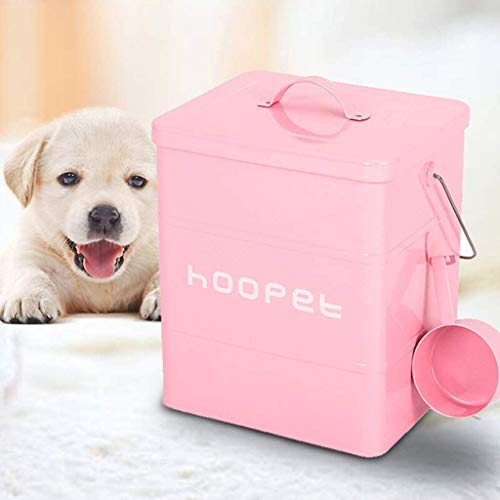 Metal Pet Storage Bucket, Snack Tin met handvatten, Sealed voedsel Storage Box for het opbergen van honden- en kattenvoer, rijst, koekjes, Etc Droog Voedsel Container Pet kat hondenvoer behoud voeden.